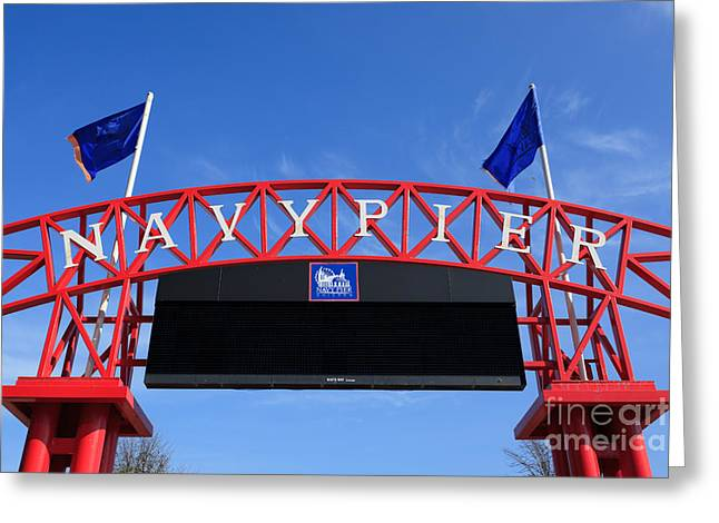 Chicago Flag Greeting Cards - Navy Pier Sign in Chicago Greeting Card by Paul Velgos