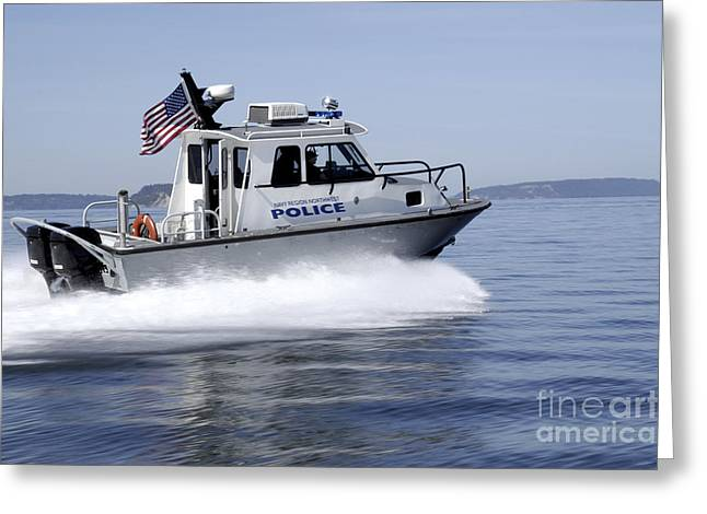 Law Enforcement Greeting Cards - Navy Region Northwest Police Conduct Greeting Card by Stocktrek Images