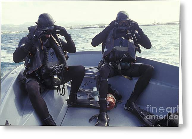 Navy Dress Greeting Cards - Navy Seals Combat Swimmers In A Utility Greeting Card by Michael Wood