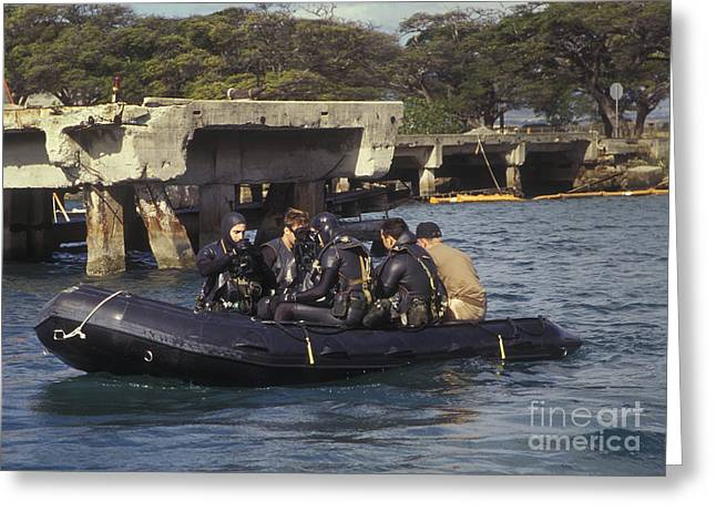 Inflatable Raft Greeting Cards - Navy Seals Combat Swimmers Sitting Greeting Card by Michael Wood