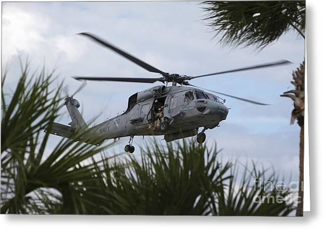 Fast-roping Greeting Cards - Navy Seals Look Out The Helicopter Door Greeting Card by Michael Wood