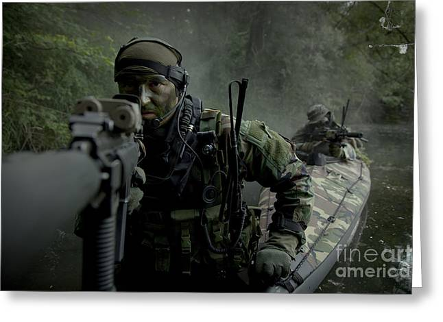 Sharpshooter Greeting Cards - Navy Seals Navigate The Waters Greeting Card by Tom Weber