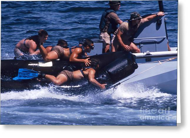 Physical Fitness Greeting Cards - Navy Seals Practice High Speed Boat Greeting Card by Michael Wood