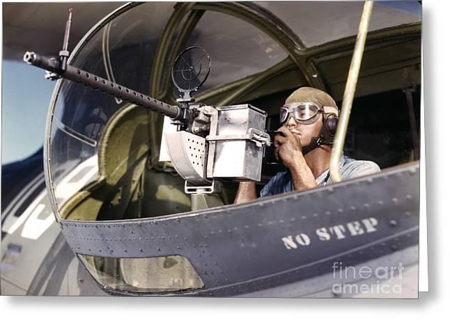 Navy War Bird 30 Calibre Machine Gun Greeting Card by Padre Art