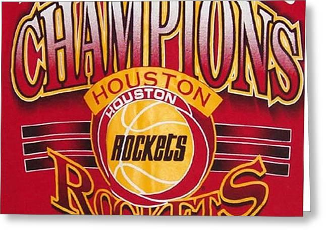 NBA 1994 World Champions Rockets Greeting Card by De Beall