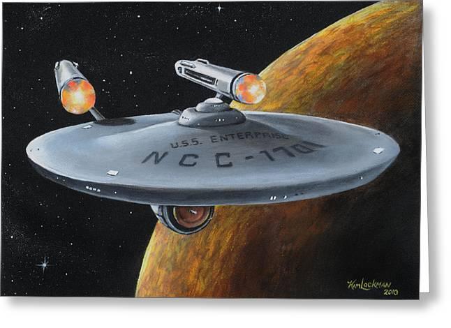 Enterprise Greeting Cards - Ncc-1701 Greeting Card by Kim Lockman