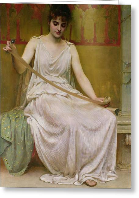 Love Poetry Greeting Cards - Neaera Reading a Letter from Catullus Greeting Card by Henry John Hudson