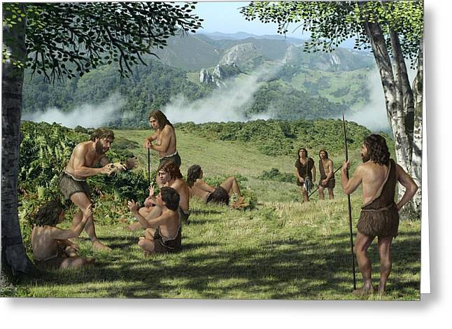 Neanderthals In Summer, Artwork Greeting Card by Mauricio Anton