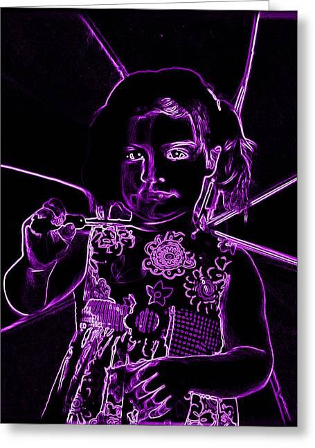 Fuchsia Dress Greeting Cards - Neaon Girl holding Umbrella Greeting Card by Sheila Kay McIntyre