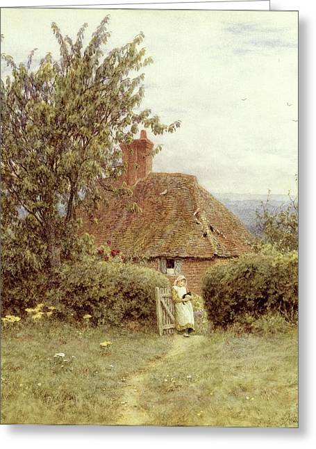 Country Scenes Greeting Cards - Near Haslemere Greeting Card by Helen Allingham