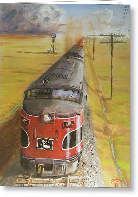 Trains Paintings Greeting Cards - Near Thistle  KS Greeting Card by Christopher Jenkins