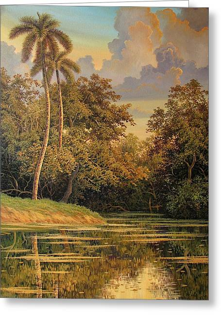 Cuban Painter Greeting Cards - Nearby trees Greeting Card by Hanoi Martinez Leon