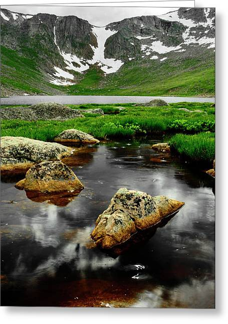 Mountain Reflection Lake Summit Mirror Greeting Cards - Nearer to Heaven Greeting Card by The Forests Edge Photography - Diane Sandoval
