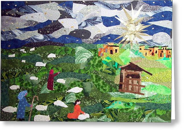 Religious Tapestries - Textiles Greeting Cards - Neath the Brightest Star Greeting Card by Charlene White
