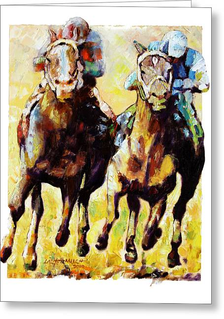 Race Horse Greeting Cards - Neck and Neck Greeting Card by John Lautermilch