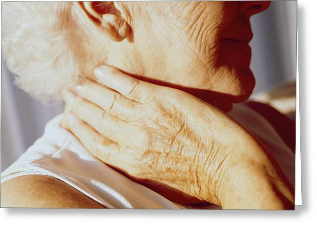 Elderly Hands Greeting Cards - Neck Pain Greeting Card by Cristina Pedrazzini