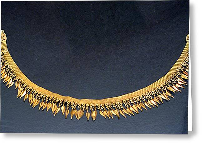 Gold Necklace Greeting Cards - Spear-heads Necklace  Greeting Card by Andonis Katanos