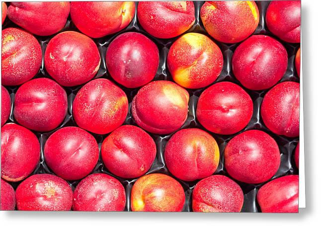Sweet Spot Greeting Cards - Nectarines Greeting Card by Tom Gowanlock