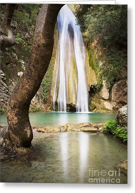 Waterfall Photographs Greeting Cards - Neda Falls Greeting Card by Richard Garvey-Williams