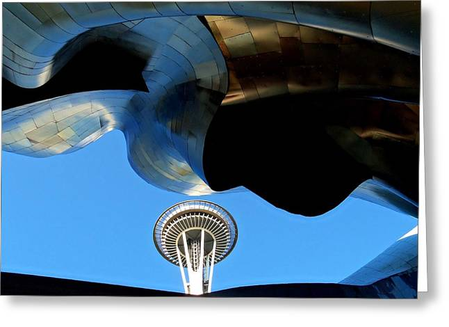 Seattle Landmarks Greeting Cards - Needle Juxtaposed Greeting Card by Randall Weidner