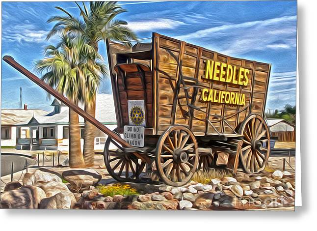 Old West Postcards Greeting Cards - Needles California Greeting Card by Gregory Dyer