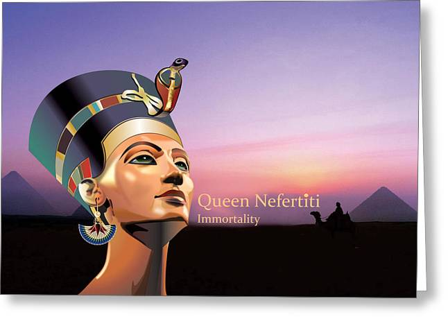 Pharaoh Digital Art Greeting Cards - Nefertiti Greeting Card by Debbie McIntyre