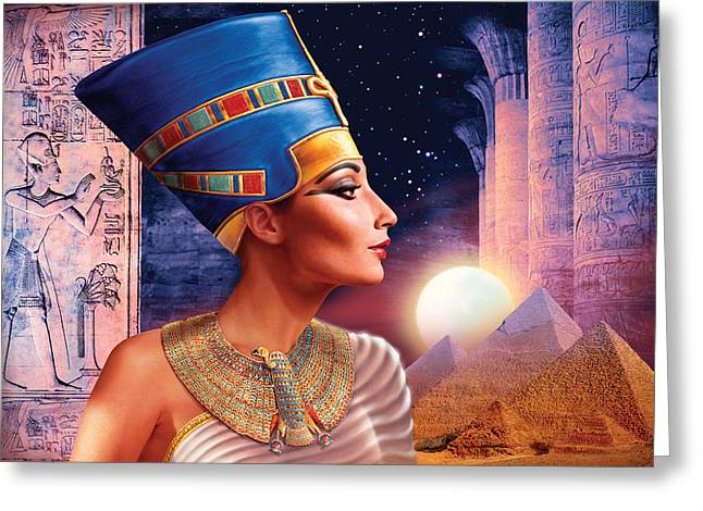 Pyramids Greeting Cards - Nefertiti Variant 5 Greeting Card by Andrew Farley