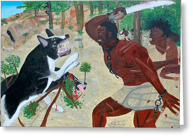 Black Maroon In Haiti Greeting Cards - Neg Mawon Haiti 1791 Greeting Card by Nicole Jean-Louis