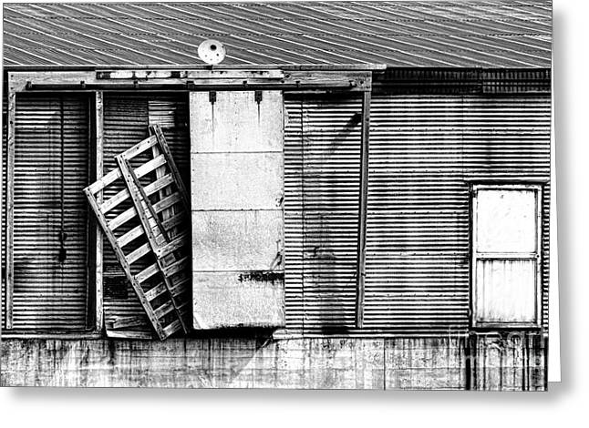 """""""sliding Doors"""" Greeting Cards - Neglected Grunge BW Greeting Card by Lawrence Burry"""