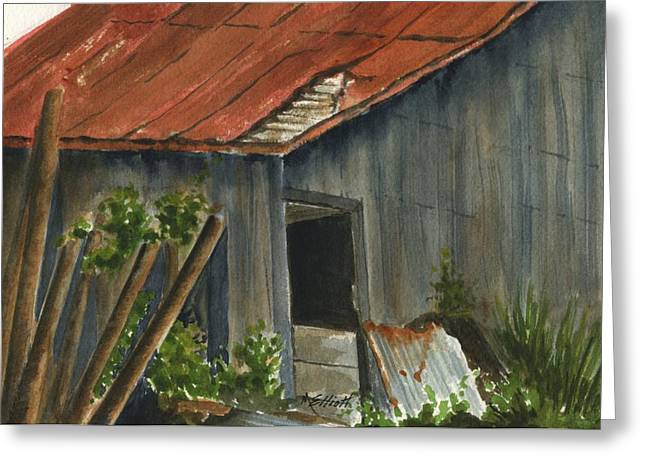 Old Relics Paintings Greeting Cards - Neighbor Dons Old Barn 2 Greeting Card by Marsha Elliott
