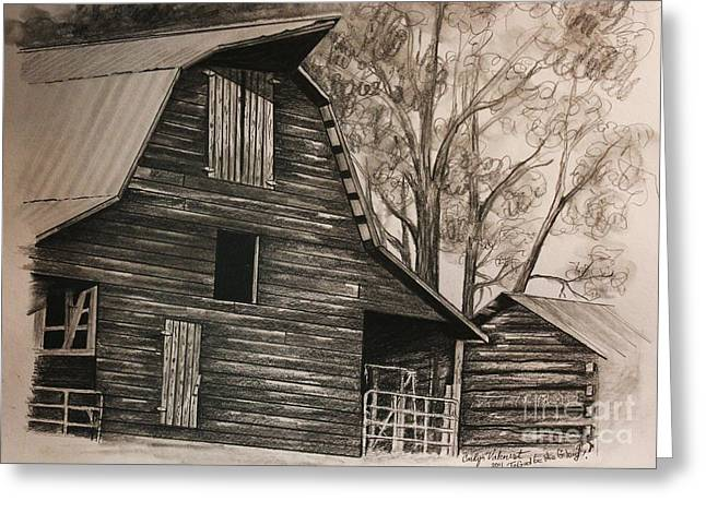Old Barns Drawings Greeting Cards - Neighborhood barn Greeting Card by Carolyn Valcourt