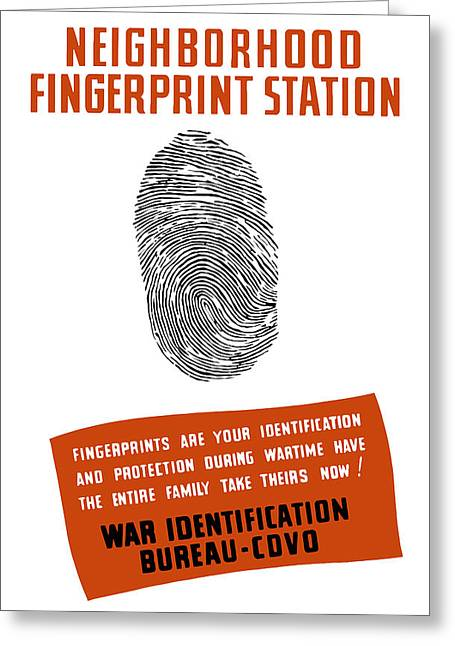 Second Greeting Cards - Neighborhood Fingerprint Station Greeting Card by War Is Hell Store