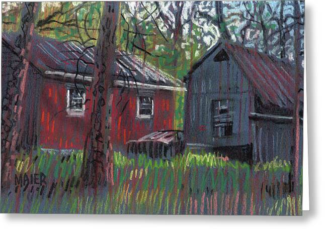 Barn Pastels Greeting Cards - Neighbors Barns Greeting Card by Donald Maier