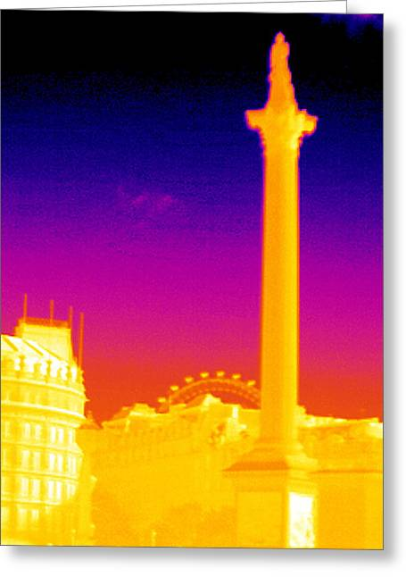 Thermography Greeting Cards - Nelsons Column, Thermogram Greeting Card by Tony Mcconnell