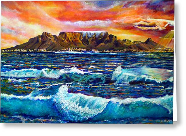 Sunset Seascape Paintings Greeting Cards - Nelsons View of Freedom Greeting Card by Michael Durst