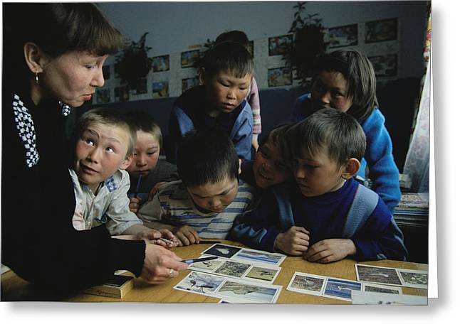 Lessons Greeting Cards - Nenets Students Must Learn Russian Greeting Card by Maria Stenzel