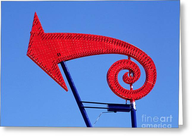 Drive In Style Greeting Cards - Neon Arrow Sign Greeting Card by Frank Short