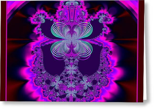 The Love Bug Greeting Cards - Neon Butterflies and Rainbow Fractal 137 Greeting Card by Rose Santuci-Sofranko