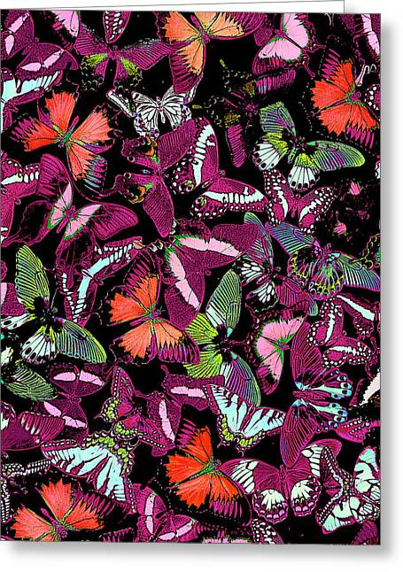 Butterfly Paintings Greeting Cards - Neon Butterfly Vertical Greeting Card by JQ Licensing