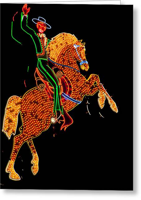Advertise Greeting Cards - Neon Cowboy Las Vegas Greeting Card by Garry Gay