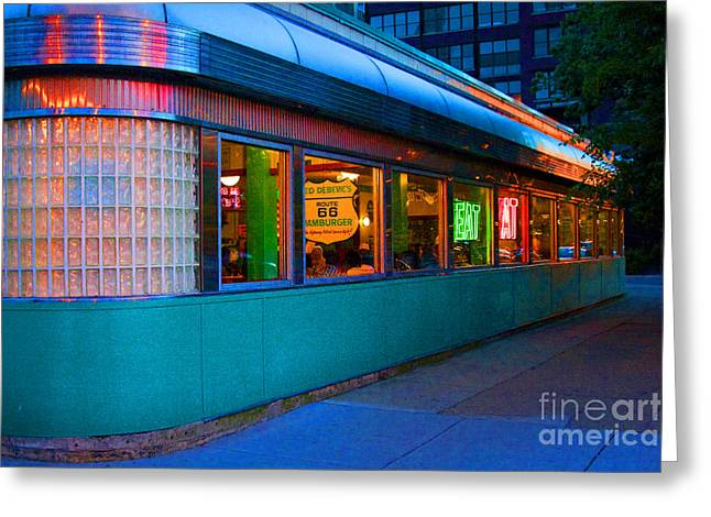 Crystal Nederman Greeting Cards - Neon Diner Greeting Card by Crystal Nederman