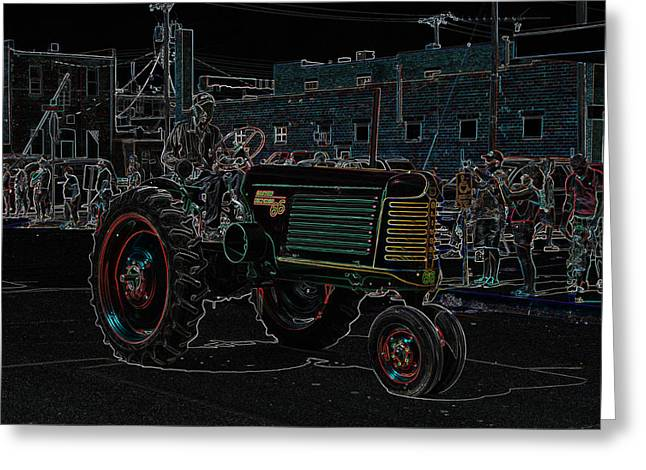 Oliver Row Crop Greeting Cards - Neon Farmer Greeting Card by J Laughlin