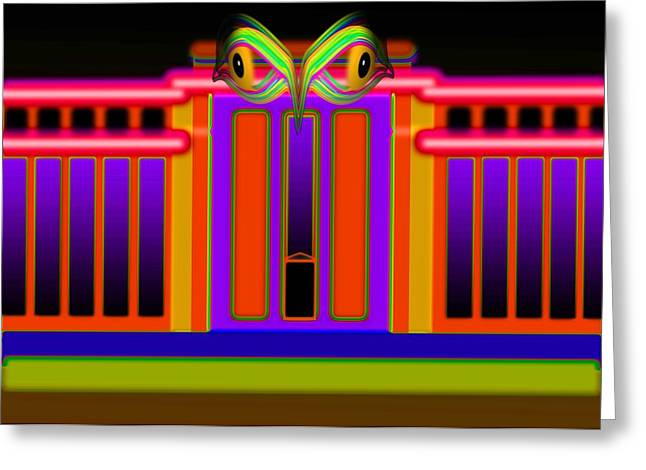 Fed Digital Greeting Cards - Neon Fed Greeting Card by Charles Stuart