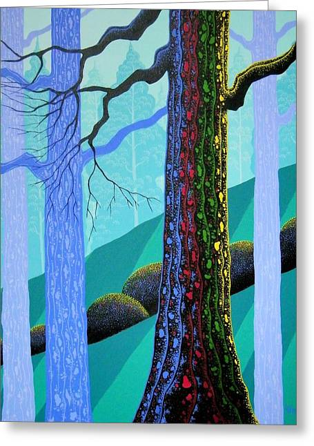 Forests Greeting Cards - Neon Forest Greeting Card by Larissa Holt