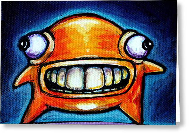 Fantasy Creatures Paintings Greeting Cards - Neon Glob Greeting Card by Leanne Wilkes
