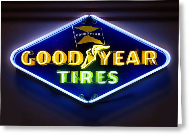 Signed Digital Art Greeting Cards - Neon Goodyear Tires Sign Greeting Card by Mike McGlothlen
