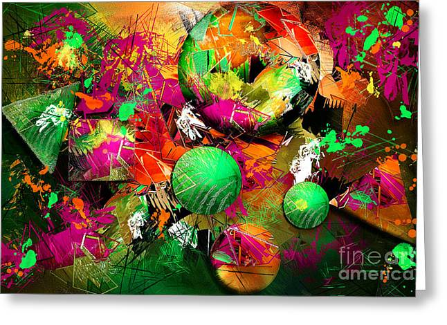 Geometric Shape Greeting Cards - Neon Ink - Abstract Art Greeting Card by Renee Dawson