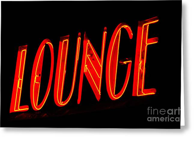 Lounge Digital Art Greeting Cards - Neon Lounge Sign Greeting Card by AdSpice Studios