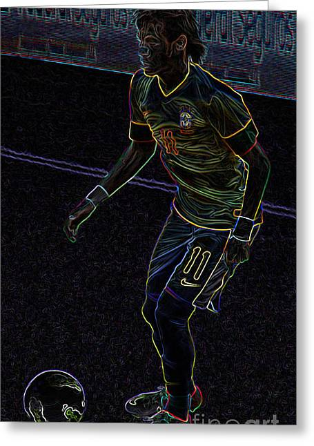 Givanildo Vieira De Souza Greeting Cards - Neon Neymar Greeting Card by Lee Dos Santos