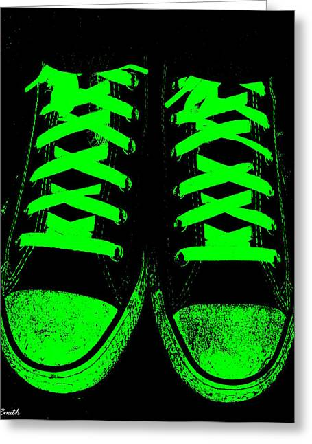 Jogging Greeting Cards - Neon Nights Greeting Card by Ed Smith